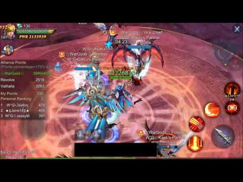 Goddess: Primal Chaos Ally WAR, WarGods vs. Revolve vs Valhalla [HD]