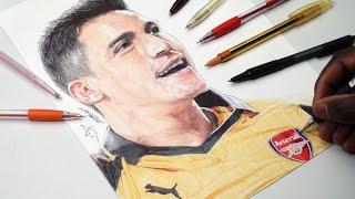 Alexis Sanchez Pen Drawing - Arsenal - DeMoose Art