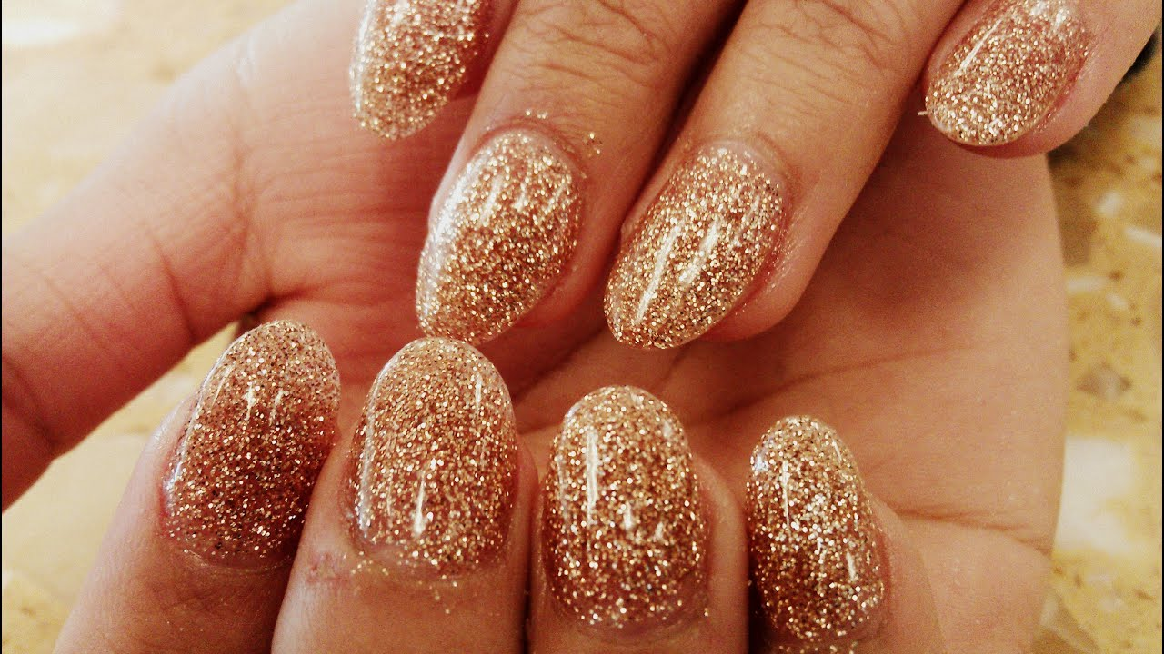 GOLD GLITTER ACRYLIC NAIL DESIGNS HOW TO