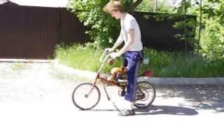 Велосипед с мотором (от бензопилы Урал)(Вот почти доделал свой велосипед с мотором, осталось тормоза поставить от велосипеда и можно ездить. Скорос..., 2013-06-17T16:27:25.000Z)