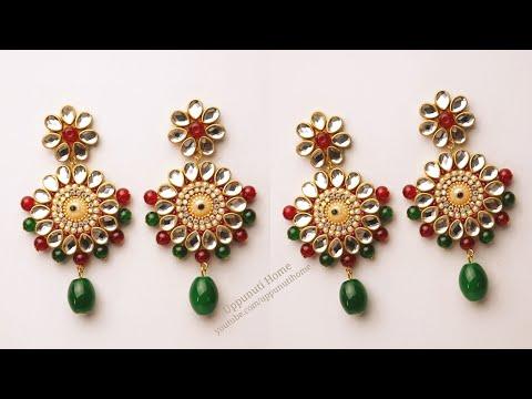 How To Make Designer Earrings At Home / DIY / Jewelry Making  / pearl earrings/ uppunutihome