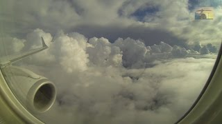 Turbulent flight through cumulonimbus clouds - during heavy Pisa approach