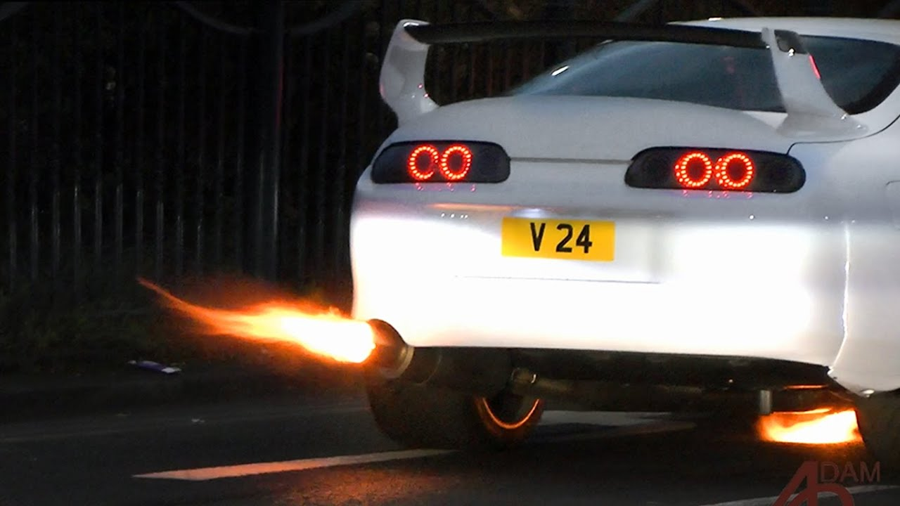 Car Fire Wallpaper 1200whp Toyota Supra Flames At Ace Caf 233 Youtube