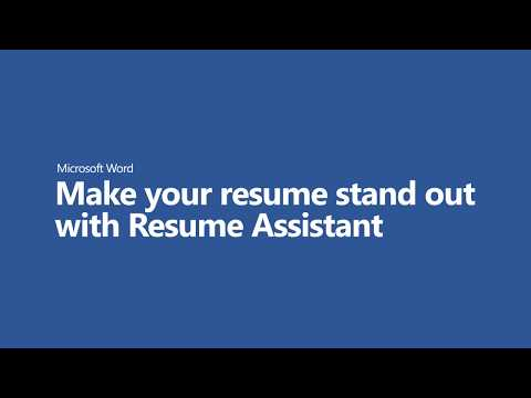 Make Your Resume Stand Out With Resume Assistant In Word