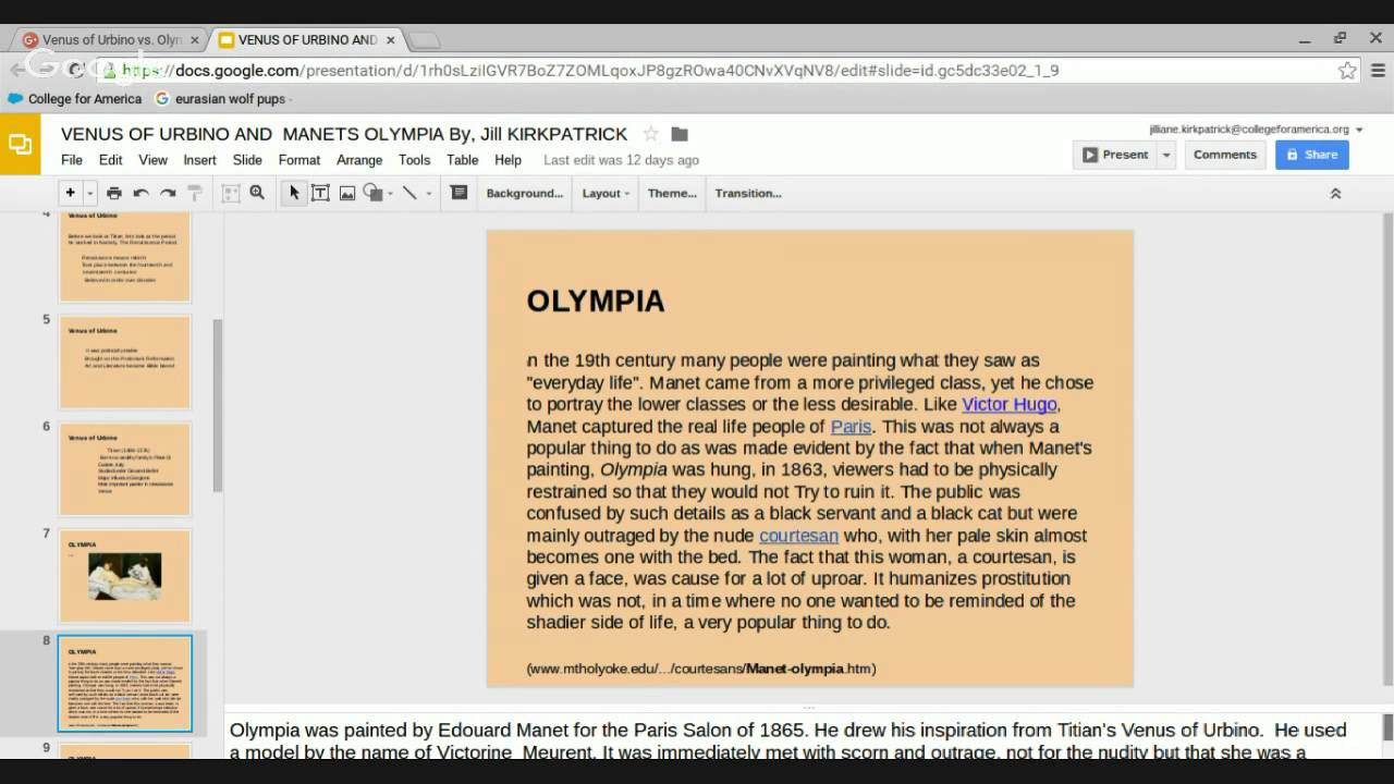 venus of urbino vs olympia View essay - titian's venus of urbino and édouard manet's olympia comparison from art 110 at westminster college   venus vs olympia analysis essay.