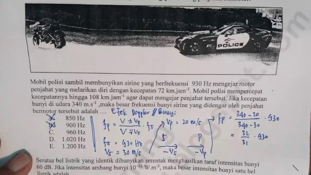 Pembahasan Soal Un Fisika Efek Doppler Bunyi Taraf Int Bunyi Gaya Magnetik Induksi Magnetik
