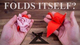 The Magic Origami Crane - Really folds ITSELF!?