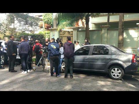 Media wait outside ex-Brazil president Temer's house