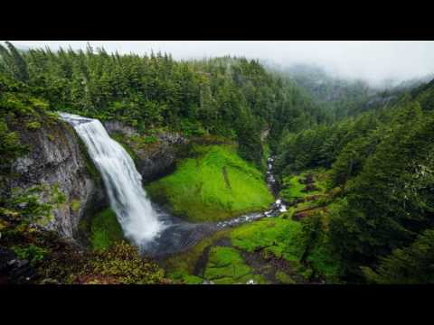 Guided Sleep Meditation with Gentle Nature Sounds: white noise Waterfall (into the forest)