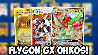 New Flygon Gx Deck Ohko Tag Teams Red Andamp Blue Energy Acceleration Support Cosmic Eclipse Ptcgo