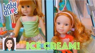 Baby Alives Get Ice Cream From MaryEllen's Ice Cream Truck!