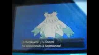 pokemon XY snover evoluciona a abomasnow