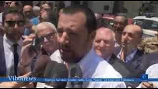 Matteo Salvini, leader della Lega Nord,  in tour nel Vibonese