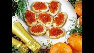 Новогодний стол за 1000 РУБЛЕЙ / Блюда с икрой / Готовим оливье и крабовый салат