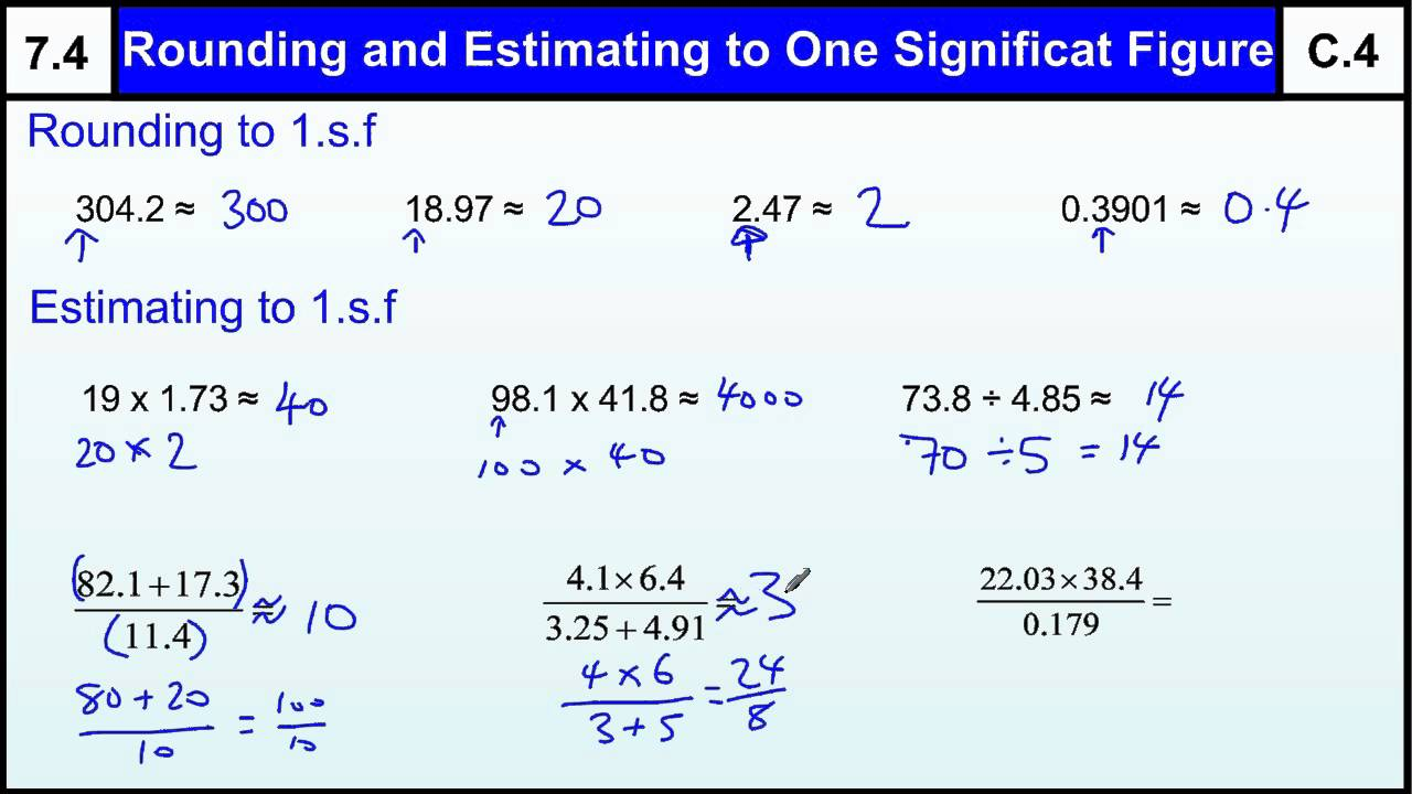 worksheet Calculations Using Significant Figures Worksheet Answers 7 4 rounding estimating one significant figure basic maths core skills gcse grade c level help
