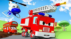 Sticky Mud  !! The Car Patrol: Fire Truck and Police Car in Car City | Cartoon Car for children