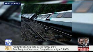 Intempéries: un RER B sort de la voie et se couche sur le côté