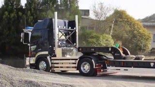 *デコトラ* トレーラー そびえ立つ煙突マフラー 楓興業 重機回送車