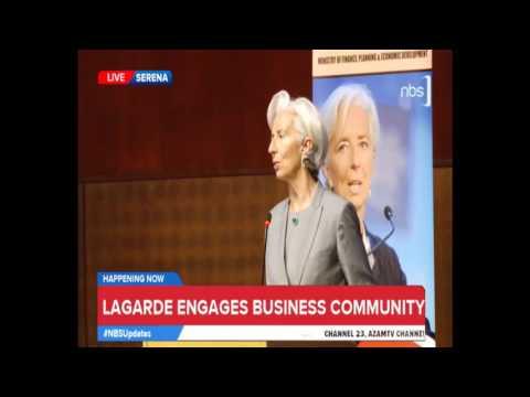 Christine Lagarde and Matia Kasaijja Speak to Uganda's Business Community