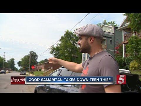 Teen Thief Tackled By Good Samaritan