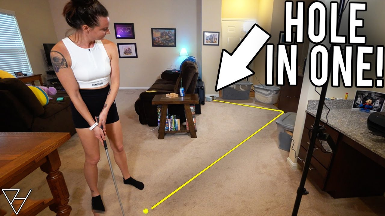 Epic Mini Golf Hole In One At Our Homemade Mini Golf Course!