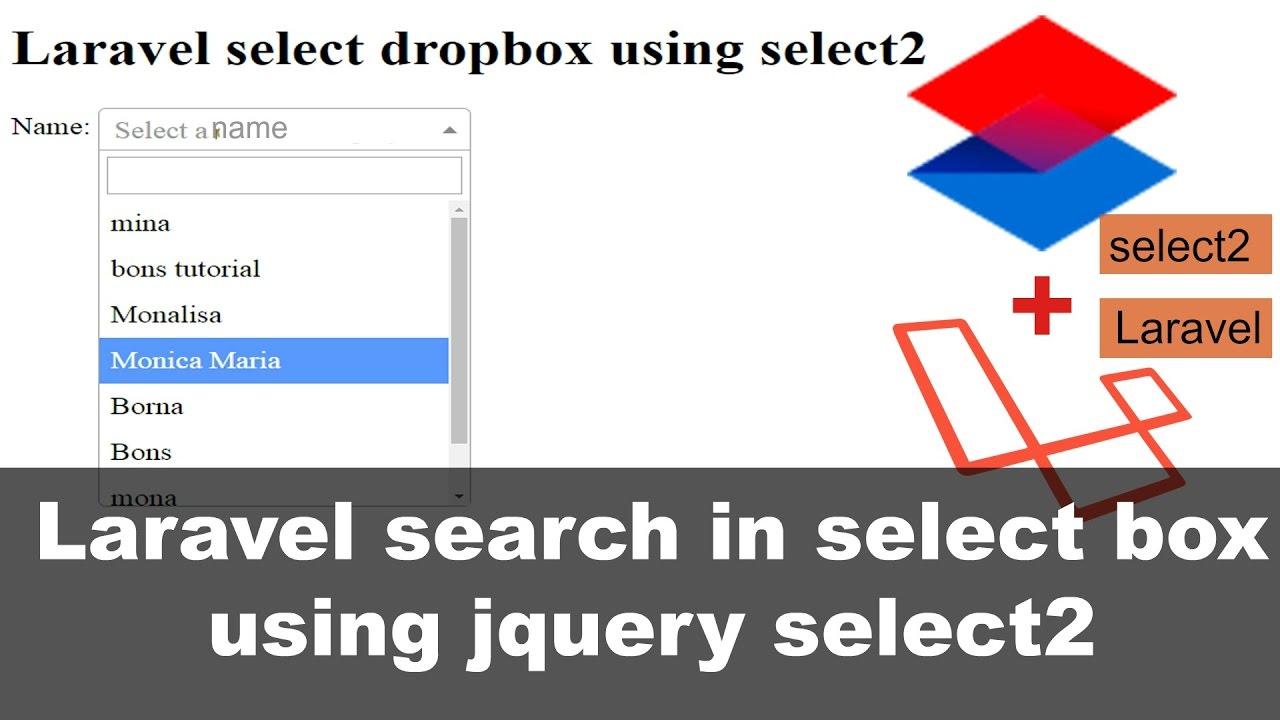 Laravel search in select Box using jquery select2