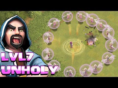 Clash Of Clans - IMMORTAL UNHOLY Lvl7 WIZARD!! (Troll Raids)