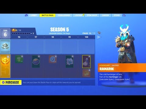 ALL BATTLE PASS TIERS! (ALL SKINS/DANCE EMOTES) Season 5 Fortnite Battle Royale