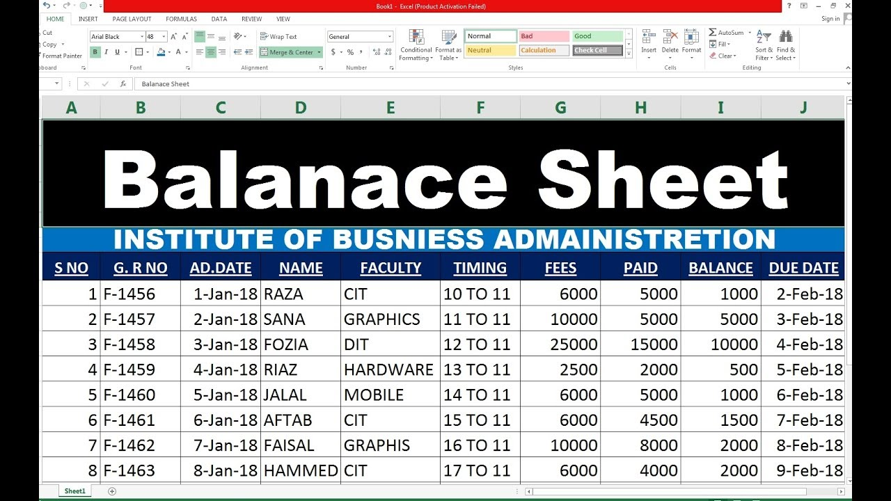 #91 How To Make Balance Sheet In Excel HIndi