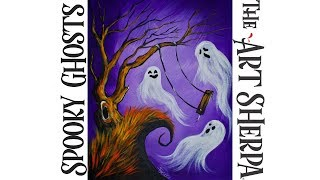 How to paint with Acrylic on canvas a EASY Spooky Ghost