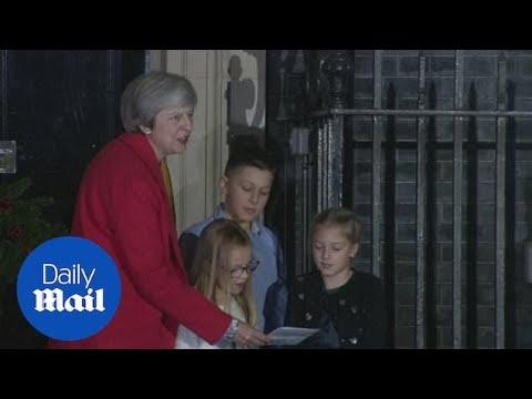 Theresa May sings 'O Come All Ye Faithful' at 10 Downing Street