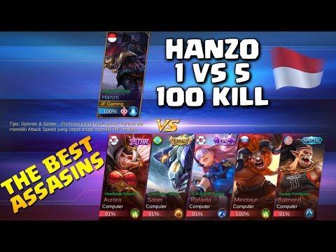 HANZO 1 VS 5, 100 KILL - TANTANGAN MODE CUSTOM - Apakah Hanzo Mampu Melakukannya?! (Mobile Legends)