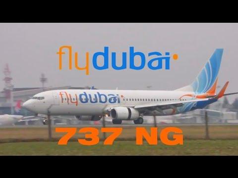 fly dubai Boeing 737-800 NG Foggy arrival at Belgrade Airport Nikola Tesla