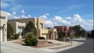 Modern pueblo-style houses in Albuquerque, New Mexico, USA