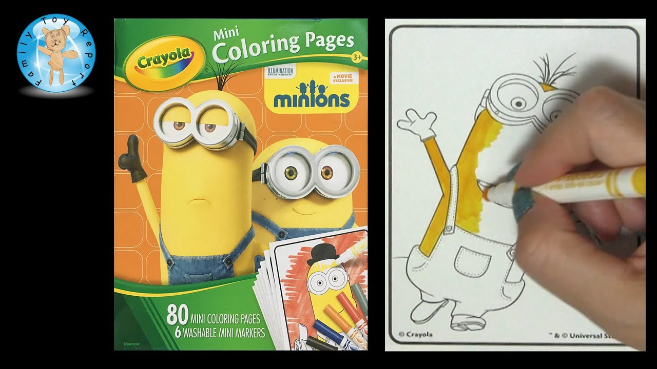 crayola mini coloring pages markers set minions movie family toy report