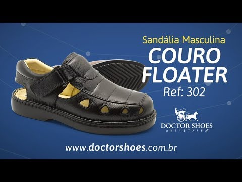 188998244 Sandália Masculina 303 em Couro Floater Preto Doctor Shoes - Doctor Shoes