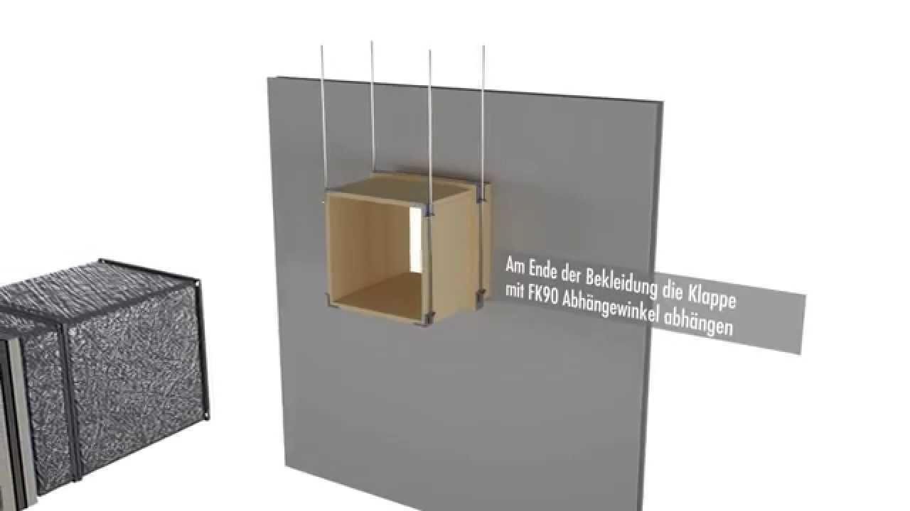 fk90 brandschutzklappe entfernt von w nden youtube. Black Bedroom Furniture Sets. Home Design Ideas