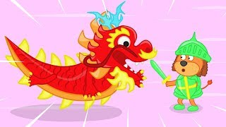Lion Family Knights Defeated the Dragon Cartoon for Kids