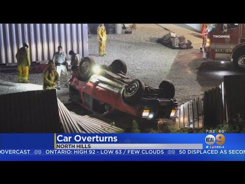 Driver Suffers Only Minor Injuries After Car Flies Of 405
