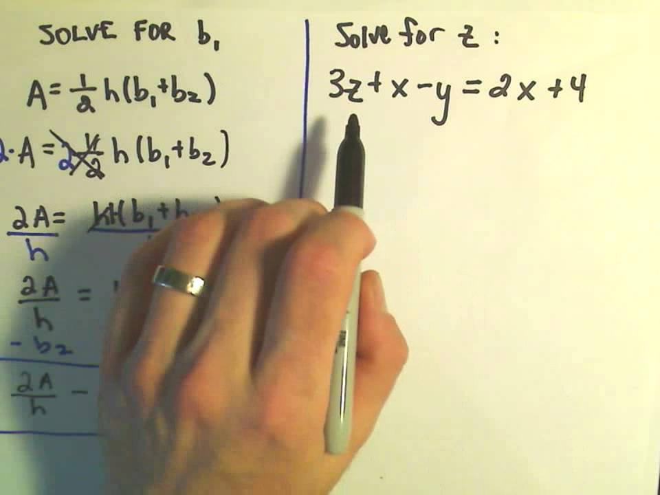 Solving an Equation for a Specified Variable