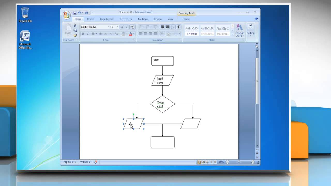How To Make A Flow Chart In Microsoft Word 2007 Youtube Template For Process Diagram