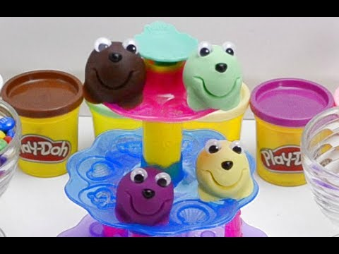 Thumbnail: Play Doh Learn Colors with Cupcakes & Ice cream Sundae Kinder surprise toy in M&Ms Video for kids