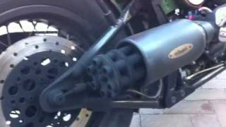 Tail gunner exhaust in a Harley