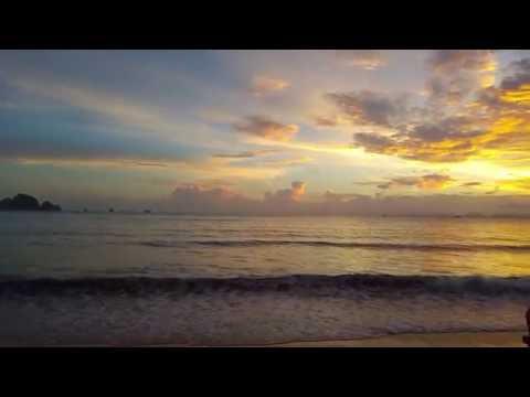Krabi Beautiful Sunset And Golden Clouds