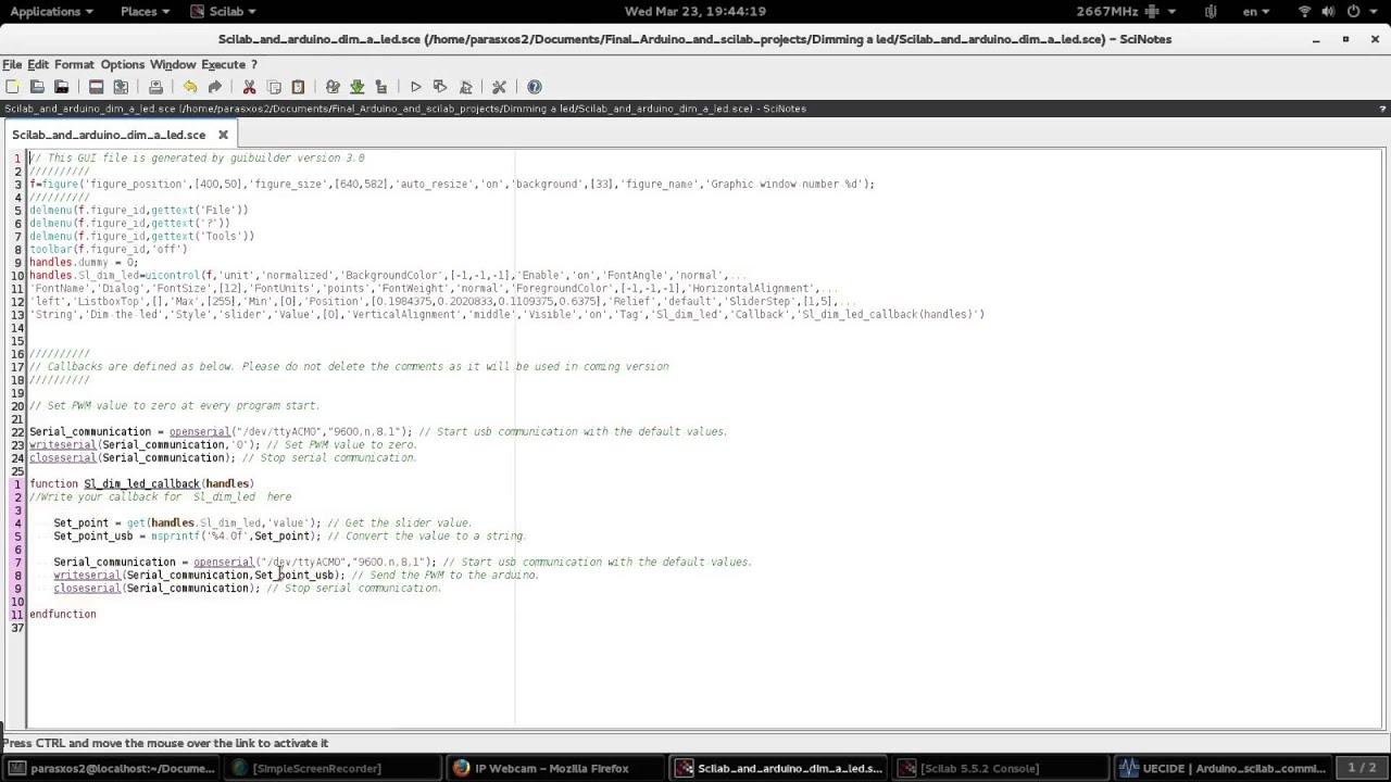 Scilab & arduino. Video tutorial #2. Controling arduino