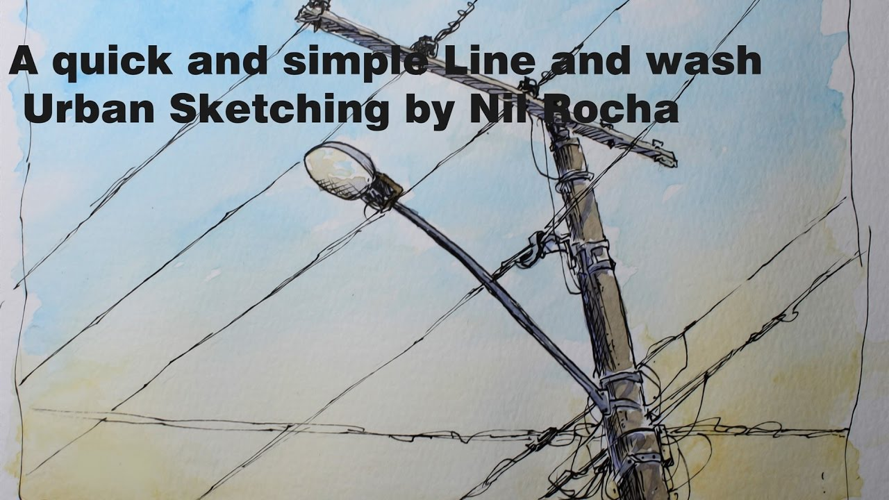 A quick and simple Line and wash Urban Sketching by Nil Rocha - YouTube
