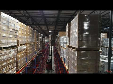 Drone Explores Massive Pallet Rack Warehouse (Full) - February 2017