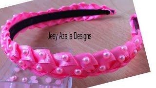 Ribbon art/beaded ribbon headband. Used Double sided satin ribbon 1...