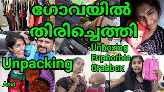 We Reached back Goa|Train journey|Unpacking|Amazon cloth organizer| of unboxing|Malayalam vlog|Asvi