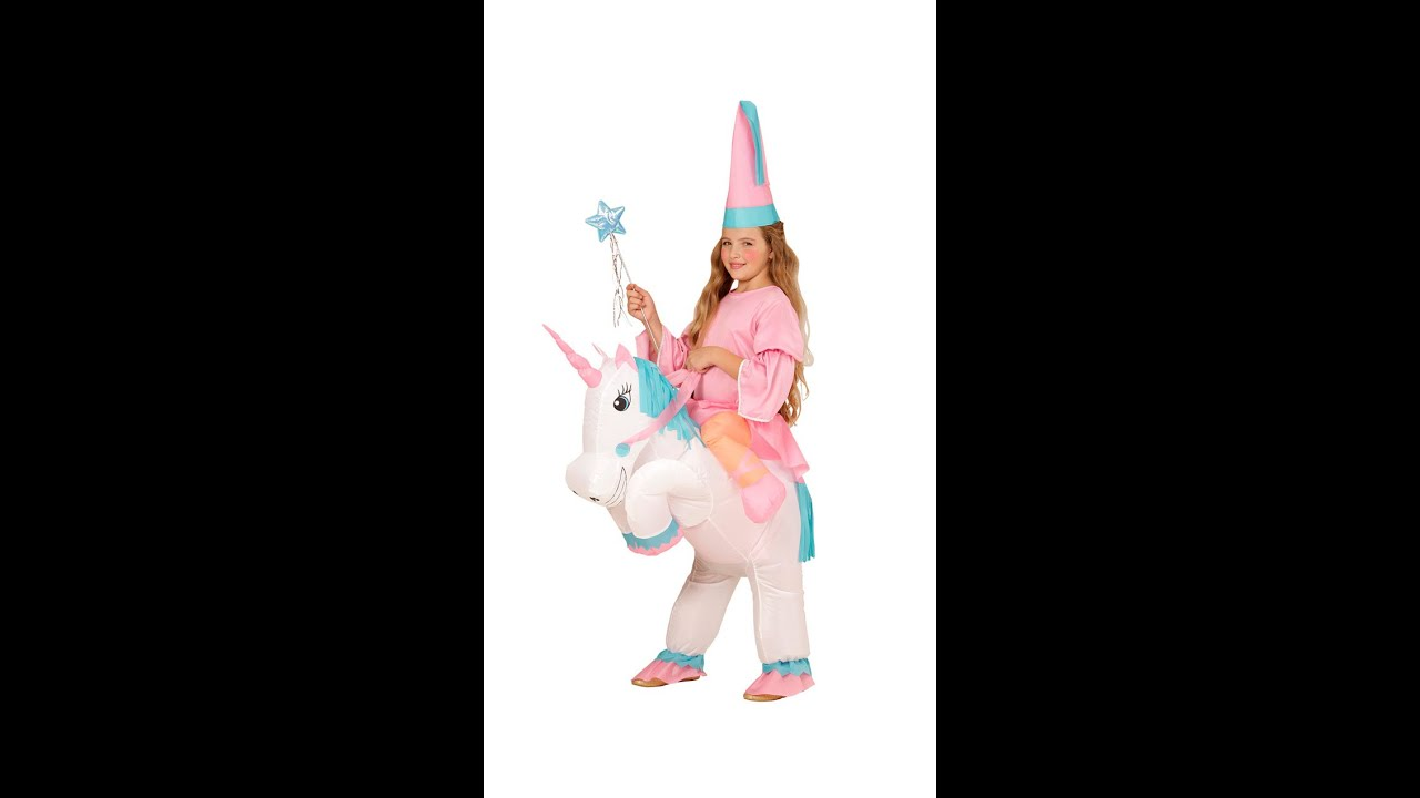 75502 -  UNICORN  (airblown inflatable costume with bridle u0026 hat) - YouTube  sc 1 st  YouTube & 75502 -